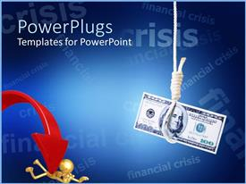 PowerPoint template displaying hundred dollar bill hanging at the end of noose next to gold figure laying on ground pinned by red arrow