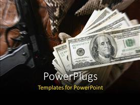 PowerPoint template displaying hundred dollar bills with black pistol on brown background
