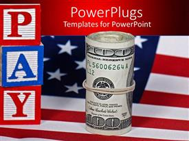 PowerPlugs: PowerPoint template with hundred dollar bills folded and bound with rubber band on American flag