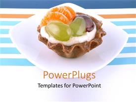 PowerPoint template displaying an ice cream with various fruits and jellies on it