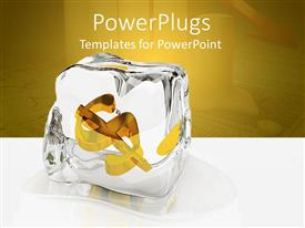 PowerPlugs: PowerPoint template with an ice cube with a dollar sign and yellowish background
