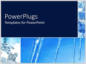 PowerPlugs: PowerPoint template with ice pillars stretching from blue sky to snowy ground