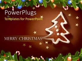PowerPlugs: PowerPoint template with iced gingerbread Christmas tree framed by pine branches and ornaments