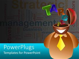 PowerPlugs: PowerPoint template with icon person with head open and colorful text TARGET coming out