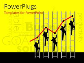 PowerPlugs: PowerPoint template with iconic figures climbing ladders with business keywords