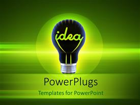 PowerPlugs: PowerPoint template with idea bulb over a glowing green background depicting innovation