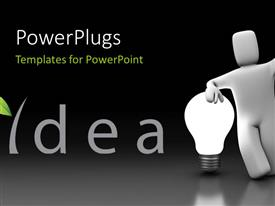 PowerPlugs: PowerPoint template with a person with an idea and greyish abckground