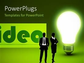 PowerPlugs: PowerPoint template with a bulb with two figures and an idea