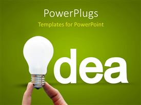 PowerPlugs: PowerPoint template with idea concept with a hand holding the bulb on a green background