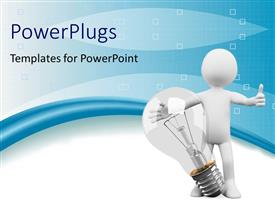 PowerPlugs: PowerPoint template with idea concept using humanoid and bulb with blue color