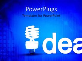 PowerPlugs: PowerPoint template with idea with light bulb, blue background, technology