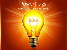 PowerPoint template displaying idea light bulb glowing, orange background