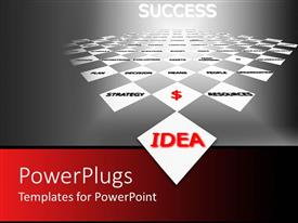 PowerPoint template displaying idea success metaphor with words written on white blocks, red dollar sign