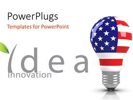PowerPlugs: PowerPoint template with a bulb with an American flag on it