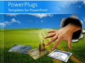 PowerPoint template displaying identity theft metaphor with hand punching through background stealing credit cards and social security number
