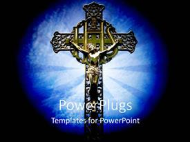 PowerPoint template displaying iHS Christogram with Jesus on cross with light glow in background