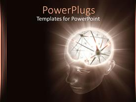 PowerPlugs: PowerPoint template with the illumination of a human brain with brown background