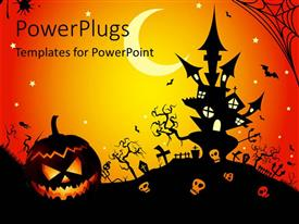 PowerPoint template displaying illustration of a Halloween night