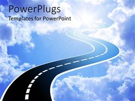 PowerPlugs: PowerPoint template with an illustration of a highway leading into the sky