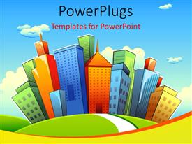 PowerPlugs: PowerPoint template with illustration of road going towards city with tall colorful buildings