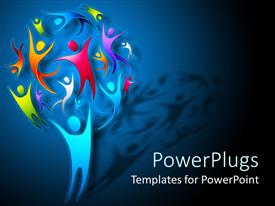 PowerPlugs: PowerPoint template with an illustration of a tree made with lots of colorful characters