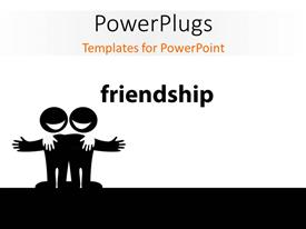 PowerPoint template displaying illustration of two best friends, symbol of friendship