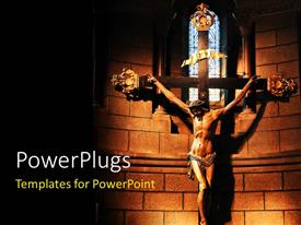 PowerPlugs: PowerPoint template with am image of Jesus Christ on the cross with bright lights