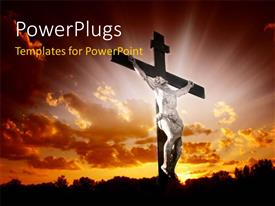 PowerPoint template displaying an image of Jesus Christ on a cross with a bright light