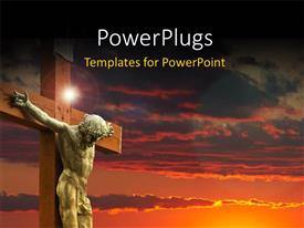 PowerPlugs: PowerPoint template with an image of Jesus Christ in white on a sunset background