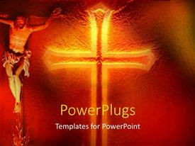 PowerPlugs: PowerPoint template with an image of jesus and a large gold colored cross