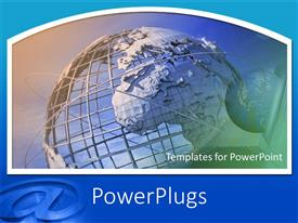 PowerPlugs: PowerPoint template with an image of a large transparent globe with its orbits and a smaller one