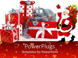 PowerPoint template displaying an image of Santa clause with lots of large gifts