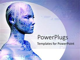 PowerPlugs: PowerPoint template with an image of a woman with mechanical drawings on her