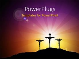 PowerPlugs: PowerPoint template with images of crucifix with a shinning bright light behind