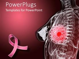 PowerPlugs: PowerPoint template with imaginative female anatomy depicting breast tumor with pink ribbon for fighting breast cancer on dark pink background