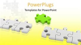 PowerPoint template displaying a number of puzzle pieces with yellowish background