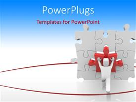 PowerPlugs: PowerPoint template with rendering of 3D man fitting missing puzzle piece