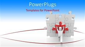 PowerPoint template displaying rendering of 3D man fitting missing puzzle piece