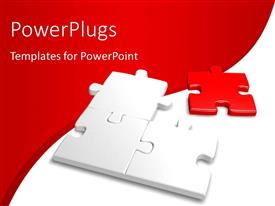 PowerPlugs: PowerPoint template with incomplete jigsaw with a red piece and nice curve in background