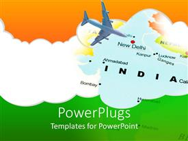 PowerPoint template displaying india New Dehli air travel map with airplane and Indian flag colors