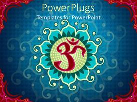 PowerPoint template displaying indian aum symbol over blue background with red edges
