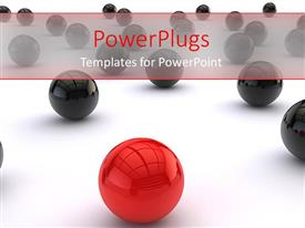 PowerPlugs: PowerPoint template with distinct red ball among black balls on white background