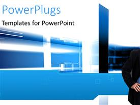 PowerPlugs: PowerPoint template with a business man standing and smiling over an abstract background