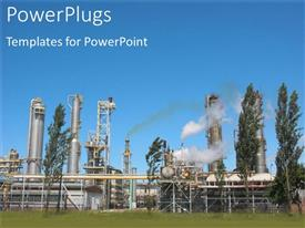 PowerPlugs: PowerPoint template with an industrial background along with smoke and trees in the background