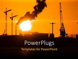 PowerPoint template displaying industrial city with thick black smokes from exhaust and sunset
