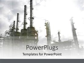 PowerPlugs: PowerPoint template with industrial depiction of oil industry plant on gray sky background