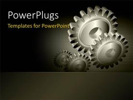 PowerPlugs: PowerPoint template with industrial gears over steel grey background
