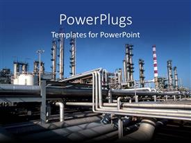 PowerPlugs: PowerPoint template with industrial pipes at a production factory causing pollution on a blue background