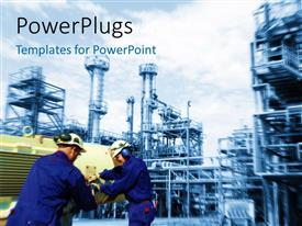 PowerPlugs: PowerPoint template with industrial plant in background with engineers exchanging equipments