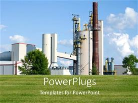 PowerPoint template displaying industrial plant with blue sky, grass, manufacturing, industry